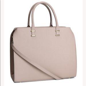 "H&M 15X12"" Handbag Purse Tote Cream"